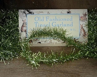 Vintage Style Spring Green Tinsel Garland-SPPO Spring Green