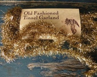 Antique Gold Tinsel Garland/Vintage Style-SPPO Gold Tinsel