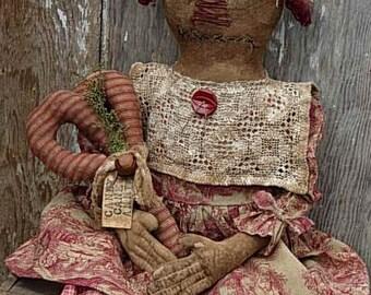 Primitive Christmas Raggedy Ann Doll & Candy Cane Pattern-SPPO Primitive Candy Cane  Annie