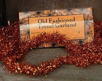 Orange Tinsel Garland/Vintage Style Halloween-SPPO Orange Tinsel