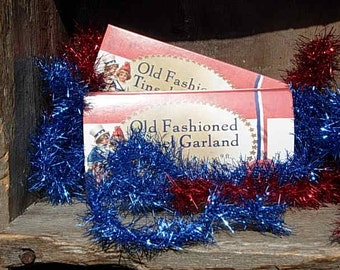 Vintage Style Americana Red Tinsel Garland-SPPO Americana Red