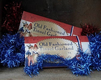 Vintage Style Americana Blue & Red Tinsel Garland-SPPO Americana DUO