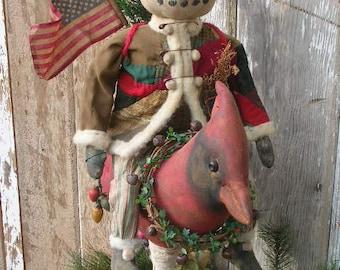 Primitive Folkart Snowman Doll Riding Cardinal Bird PATTERN-SPPO A Wynter Ride Christmas Winter Decor