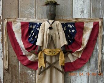 Americana Black Liberty Doll Pattern Flag Bunting Wings-SPPO Black Liberty Angel