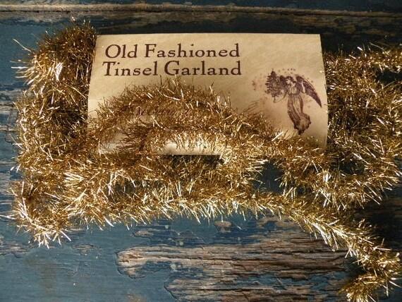 Antique gold tinsel garland vintage style sppo