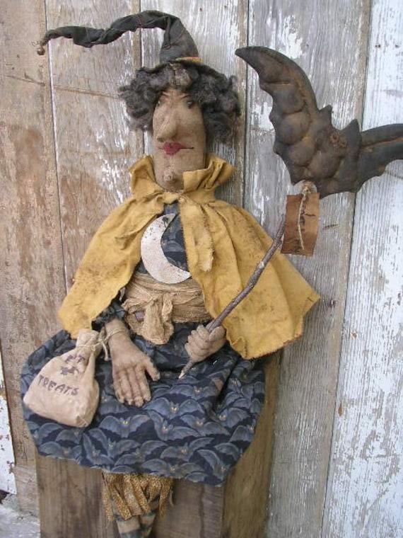Primitve Witch Doll with Bat Wand SPPO Battella