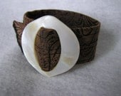 Skinny Brown Cuff with Vintage Mother-of-Pearl Buckle