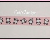 Panda Bear Grosgrain Ribbon Pink White Ribbon Grosgrain Black Panda Bear Bears Black And White Panda Bear Ribbon 5 yds 7/8 wide cbseveneight
