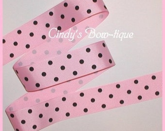 Black Pink Grosgrain Ribbon Polka Dot Dots 5 yards 1 1/2 inch wide Offray 154 cbonefive