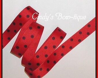 Black Polka Dot Dots Red Grosgrain Ribbon 5 yards 7/8 inch wide cbseveneight