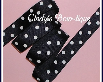 Dark Navy Blue Grosgrain Ribbon White Polka Dots 7/8 wide Offray 370 cbseveneight