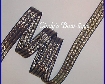 Blue Gold Ribbon Grosgrain Metallic Stripes Striped 5 yards 7/8 wide cbseveneight