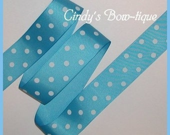 Light Turquoise Grosgrain Ribbon White Polka Dot Dots 5 y 1 1/2 wide Offray 328 Island Blue cbonefive