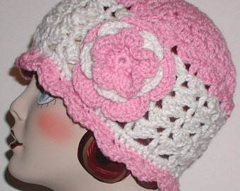 Antique White Hat Pink Cloche Flower Teens Ladies Teen Women