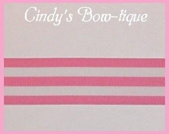 Bubble Gum Hot Pink Grosgrain Ribbon White Monarch Stripes 5  1.5 w cbonefive