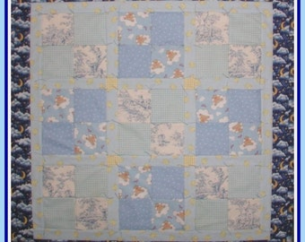 Baby Quilt Blue Yellow Bear Angel Ducks Clouds Central Park