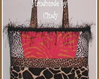 Zebra Giraffe Purse Tote Bag Pink Orange Brown Black Leopard