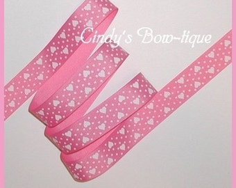 Hearts Polka Dot Grosgrain Ribbon Hot Pink White Heart 5 y 7/8 w cbseveneight