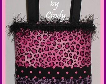 Pink Leopard Tote Bag Purse Purple Hot Raspberry Polka Dot Dots