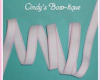 Pink White Grosgrain Ribbon Side Saddle Stitch 7 yards 5/8 inch wide cbfiveeight