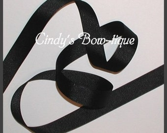 Solid Black Grosgrain Ribbon 6 yards 7/8 inch wide Offray color 30 cbseveneight