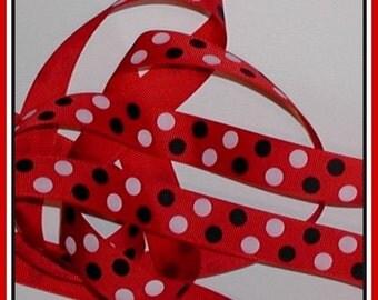 Black White Red Grosgrain Ribbon Polka Dot Dots 5 yards 7/8 inch wide cbseveneight