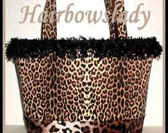 Leopard Tote Diaper Bag Brown Black Gold Handmade Made in USA