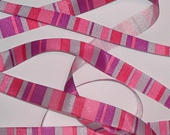 Silver Purple Grosgrain Ribbon Pink Red Stripes Shiny Gray 5/8 wide cbfiveeight