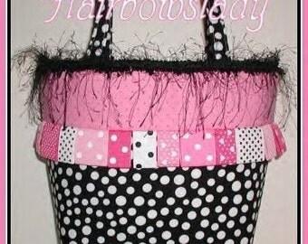 Hot Pink Black Purse Tote Diaper Bag Polka Dot Dots