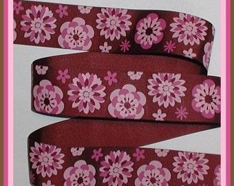Pink Mums Grosgrain Ribbon Brown Magenta Flower Flowers 1 1/2 wide cbonefive