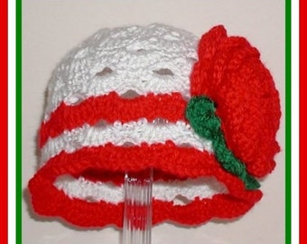 Large Red Rose Baby Hat Christmas Toddler White Green Toddlers Girls Babies