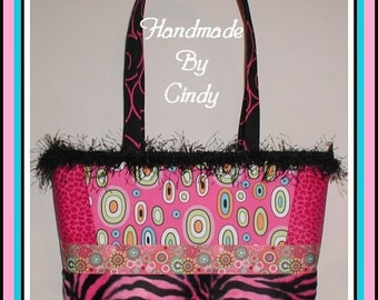 Zebra Dots Purse Extra Large Leopard Tote Hot Fur Pink Black Turquoise