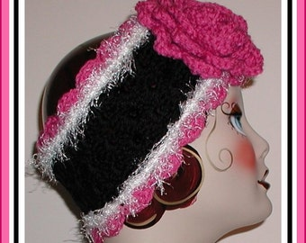 Black Ski Band Headband Raspberry Pink White Ear Warmer Flower