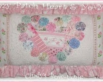 Yo Yo Pillow Heart Roses Pink Blue Sage Vintage Snow White Chenille Yo Yo's