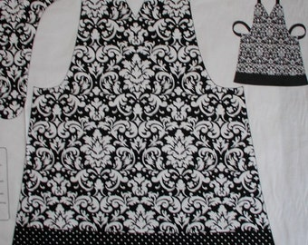 Damask Apron Fabric Black White Pre-Printed Design Cotton Polka Dots