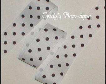 Black White Ribbon Grosgrain Polka Dot Dots 1 1/2 inch wide cbonefive