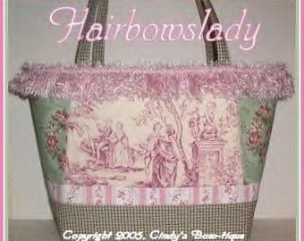 Purple Diaper Bag Tote Toile Sage Cameo Roses Pink Weekender Green Purse
