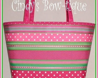 Pink Lime Diaper Bag Tote Polka Dot Green Cosmetic Pouch Made in USA Handmade