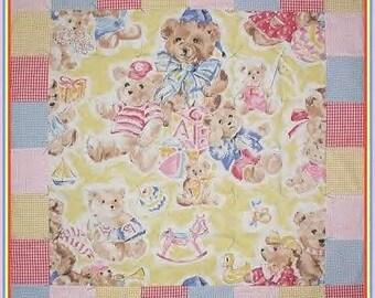 Rocking Horse Quilt Baby Ducks Teddy Bear Big Bears Blanket Blue Red