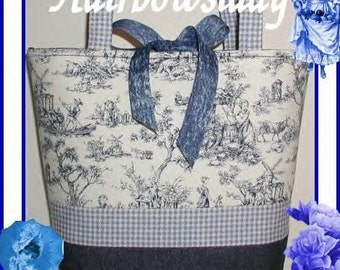 Navy Blue Toile Purse Small Tote Diaper Bag Denim