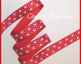Red White Grosgrain Ribbon Hearts Dots Valentine 5 y 7/8 w Heart Swiss Dot cbseveneight