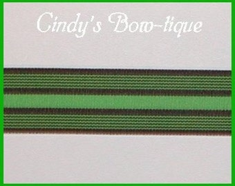 Brown Green Grosgrain Ribbon Stripes Lime Chocolate 5 y 1 1/2 wide Limetini cbonefive