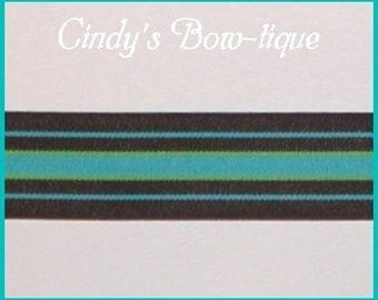 Bermuda Cool Grosgrain Ribbon Brown Turquoise Lime Green Stripes Stripe 5 y 1 1/2 w cbonefive