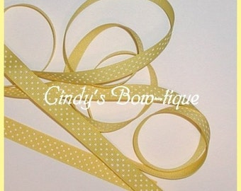 Bright Yellow White Grosgrain Ribbon Swiss Dots Small Polka Dot 6 y 5/8 w cbfiveeight