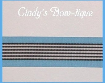 Blue Grosgrain Ribbon Black Copen White Stripes 5 yards 1 1/2 inch wide cbonefive