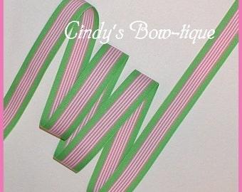 Lime Pink Grosgrain Ribbon Hawaiian Twist Green Stripes 5 yards 7/8 wide Stripe cbseveneight