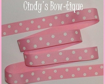 Pastel Pink White Ribbon Grosgrain Polka Dot Dots 5 yards 7/8 inch wide Offray 150 cbseveneight