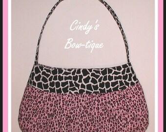 Pink Leopard Purse Handbag Black White Giraffe Handmade Made in USA