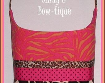 Pink Zebra Hobo Purse Tote Bag Giraffe Leopard Orange Made in USA Handmade