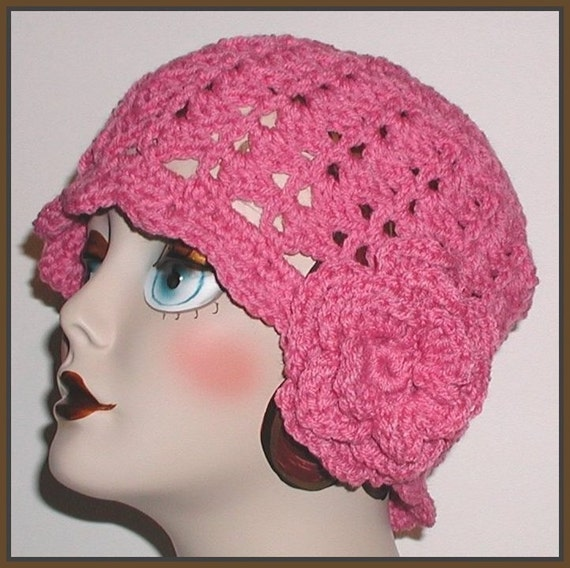 pink hat mauve cloche rose flower crochet flapper adult teen. Black Bedroom Furniture Sets. Home Design Ideas